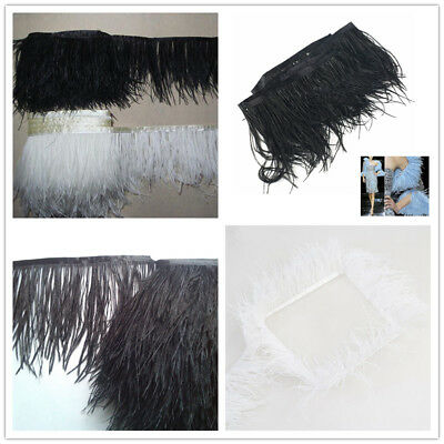£2.79 • Buy 1 Yard DIY Ostrich Feather Dyed Fringe Trim For Costume Hat Craft Sewing Decor