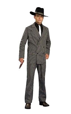 GANGSTER SUIT MENS PIN STRIPES 1920s CAPONE ADULT FANCY DRESS HALLOWEEN COSTUME • 30.79£