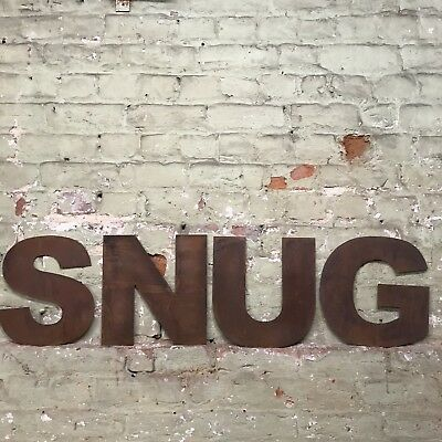 £47.99 • Buy Rusty SNUG Lettering Letters Signage Metal Industrial Bar Mancave Sign Rustic