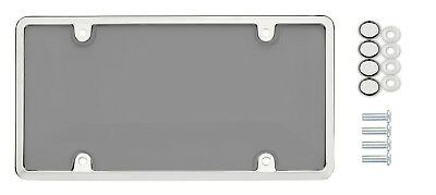 $7.95 • Buy  Universal UNBREAKABLE Tinted Smoke License Plate Shield Cover + CHROME Frame