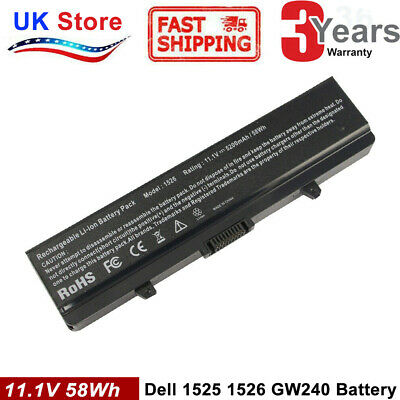 6CELL Battery For Dell Inspiron 1525 1526 1440 1545 1546 1750 GW240 X284G PP29L • 12.99£