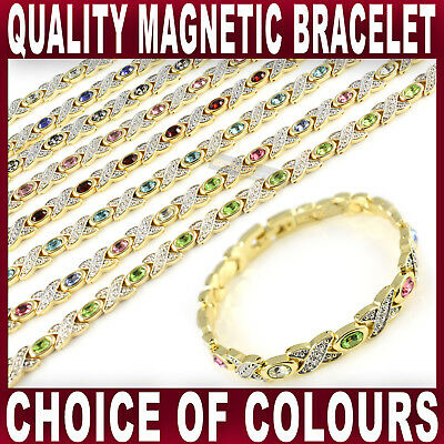 Ladies MAGNETIC BRACELET 8 Strong Magnets Bangle Gold Tone Womens Quality NEW • 8.99£