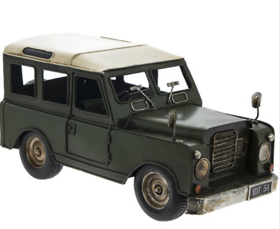 Metal Tin Green Jeep Car 4 X 4 Model BNIB 4 By 4 Land Rover Style Car Model • 24.99£