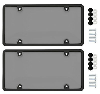$10.95 • Buy 2 Unbreakable Tinted Smoke License Plate Shield Covers + 2 Black Frames + 8 Caps