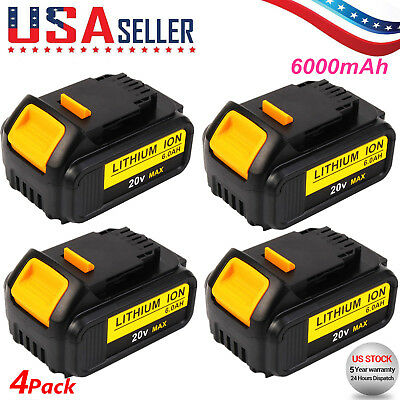 $117.99 • Buy 4 X For Dewalt 20V 6.0Ah DCB200-2 DCB180 DCD985B DCB182 MAX Lithium-Ion Battery