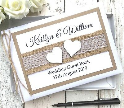 Personalised Wedding Guest Book ~rustic White Wood Hearts ~vintage Hessian Lace • 18.99£