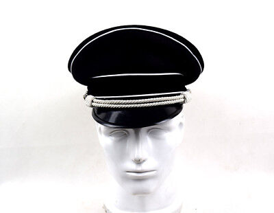 Military WW2 German Elite Officer's Wool Visor Hat W White Chin Pipe Silver Cord • 22.89£