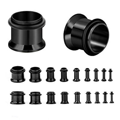 Black Pvd Steel Single Flare Eyelet Tunnel Ear Stretcher Plug Stretching Kit Set • 2.50£