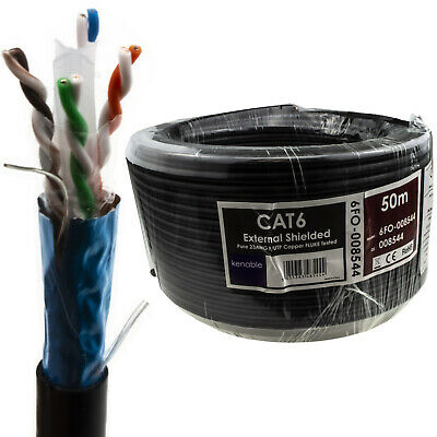 £32.78 • Buy External SHIELDED CAT6 Outdoor Use COPPER Ethernet Cable FTP Reel  50m