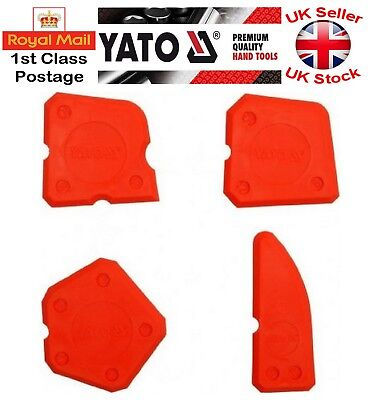 Red Silicone Sealant Spreader Profile Applicator Tile Fugi Grout Tool Set Of 4 • 3.39£