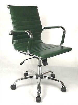 £129.99 • Buy Vintage Retro GREEN Ribbed Faux Leather Classic Designer Office Chair