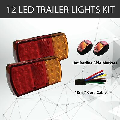 AU44.95 • Buy 2 X 12 LED TRAILER LIGHTS KIT,10M 7 Core CABLE, 2 X Red / Yellow Side Marker 12V