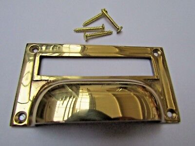 £3.99 • Buy SOLID BRASS VICTORIAN Cupboard Filing Cabinet Card Label Holder Cup Pull Handle