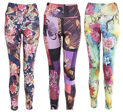 £4.99 • Buy Women Stretchy Floral Printed Leggings Ladies Slim Colored High Quality Trousers