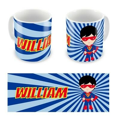 Personalised Childrens Kids Mugs Cup Super Hero Boy Any Name Gift Box • 9.99£