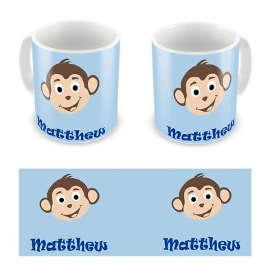 Personalised Childrens Kids Mugs Cup Monkey Boy Any Name Gift Box • 9.99£