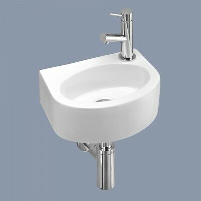 Small Compact Tiny Bathroom Cloakroom Basin Sink Wall Hung Curved With Fixings • 32£