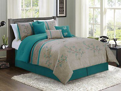 $140.95 • Buy Luxurious  7-piece Teal Cherry Blossoms Floral Embroidery Bedding Comforter Set
