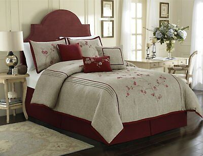 $140.95 • Buy Luxurious  7-piece Red Cherry Blossoms Floral Embroidery Bedding Comforter Set.