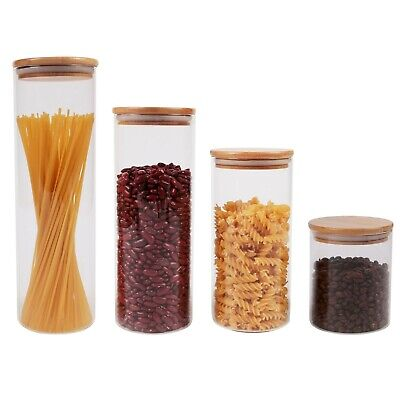 £9.95 • Buy Glass Food Canister Jar With Natural Bamboo Lid Silicone Ring & Airtight Sealing