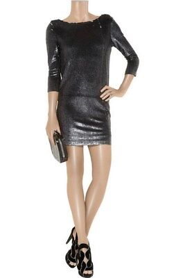 $ CDN125.70 • Buy $800 IRO Cloe Sequined Stretch Jersey Mini Dress Open Back Black Charcoal 0 XS