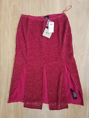 ASOS Red Sequin Skirt With Splits Size 8 • 11.99£