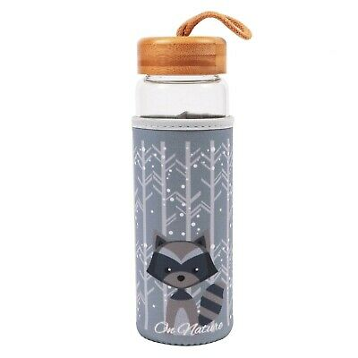 Glass Water Drinks Bottle For Hot And Cold Drinks With Sleeve & Bamboo Lid 500ml • 8.40£