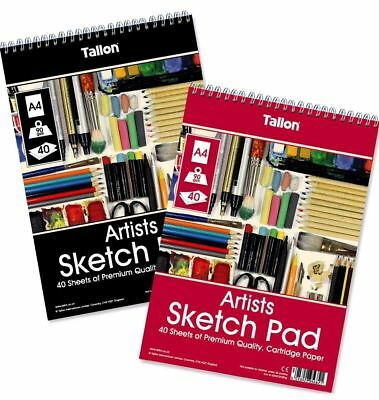 £2.75 • Buy Sketch Pad Smooth White Drawing Artist Paper On SPIRAL Book 40 Sheets 90gsm