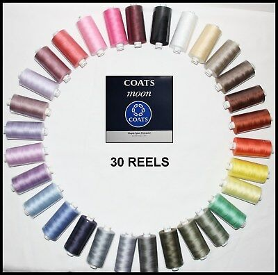 30 Reels Moon Coats Spun Polyester Sewing And Overlocking Thread 1000 Yards  • 19.99£