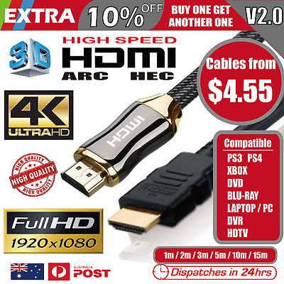 AU4.55 • Buy Premium HDMI Cable V2.0 4K Ultra HD 3D High Speed Ethernet 1m 2m 3m 5m 10m 15m