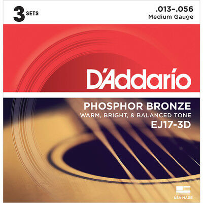$ CDN22.05 • Buy 3 Sets EJ17-3D Guitar Strings D'Addario Phosphor Bronze Medium Acoustic 13-56