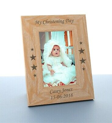 £9.98 • Buy Personalised Christening Gift Engraved Wooden Photo Frame Christening Day