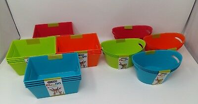 EDGO Pic&go Plastic Rectangle/Oval Storage Basket 4 Pack Colours 6.5 X4.5  • 4.71£