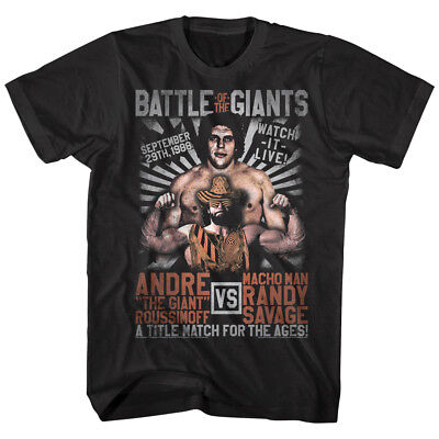 $20.50 • Buy Andre The Giant V Macho Man Randy Savage Men's T Shirt Title Match Wrestling Top
