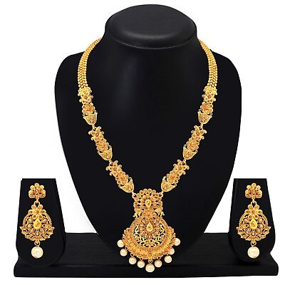 $19.59 • Buy Ethnic Indian Jewelry Long Necklace Bollywood Earrings Gold Plated Bridal Set