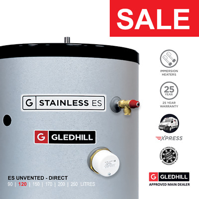 £314.99 • Buy Gledhill Stainless ES Unvented Hot Water Cylinder 120L DIRECT Ref: SESINPDR120