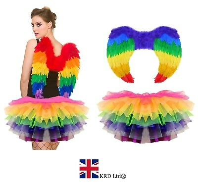 RAINBOW PARROT TUTU COSTUME Feather Fancy Dress Outfit Bird Fairy Party NEW UK • 12.60£