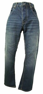 Dark Blue Stonewashed Denim Straight Leg Jeans, Ringspun Size 32r, Mb197 • 8£