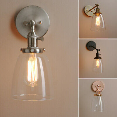 £34.95 • Buy Rustic Industrial Wall Sconce Wall Lamp Light Glass Shade Wall Lamp W/Switches