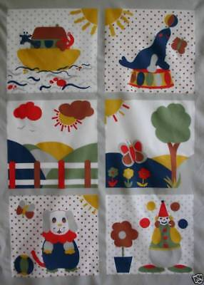Patchwork Quilting Panels Kids Cushion Squares Animal Boat Butterfly Dog Clown • 1.99£