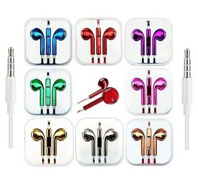 Headphones Earphones With Mic Colour Chrome For EarPods HTC Sony Samsung Apple • 4.99£