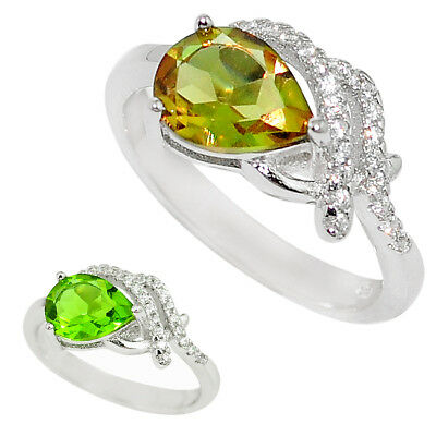 AU59.95 • Buy Colour Change Alexandrite And White Topaz Sterling Silver Ring - Free Postage