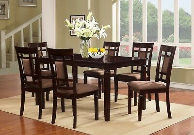 7 PC Brand New Cappuccino Finish Solid Wood Dining Table Set, 1 Table & 6 Chairs • 598$