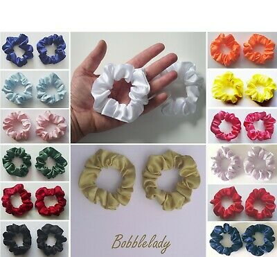 $ CDN4.32 • Buy 2 X SMALL SATIN SCRUNCHIES (Child / Thin Hair) - Choice Of Colour *MADE IN UK*