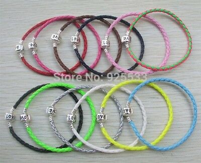 Silver Clasp Leather Woven Braided Love Bangle Bracelet DIY 4 European Charms • 4.95£