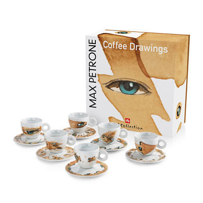 ILLY COLLECTION 2018 MAX PETRONE 6 CAPPUCCINO Cups Signed Coffee Cup • 173.09£