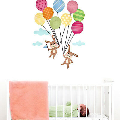Bunnies With Balloons Wall Sticker | Nursery Wall Stickers | Perfect Above A Cot • 20£