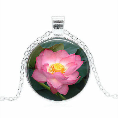$ CDN2.66 • Buy Pink Lotus Flower Tibet Silver Glass Dome Necklace Chain Pendant Wholesale
