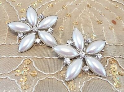 £1.99 • Buy Pearl Silver Diamante Flower Brooch Wedding Bouquets Cake Brooches Decorations