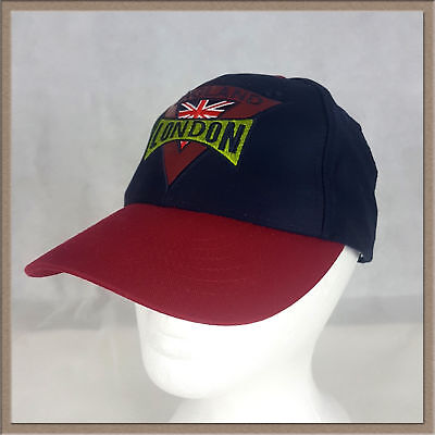 df611102 London England Baseball Cap Hat Snapback Faux Leather Patch Union Jack Navy  Red • 17.98$